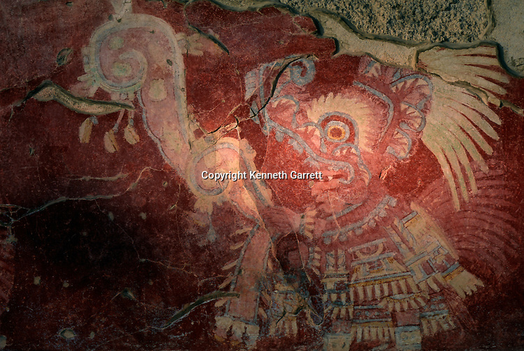 Mural from Tetitla, Sowing and chanting priest, Teotihuacan, Mexico