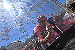 Race leader Maglia Rosa Tom Dumoulin (NED) Team Sunweb at sign on before the start of Stage 19 of the 100th edition of the Giro d'Italia 2017, running 191km from San Candido/Innichen to Piancavallo, Italy. 26th May 2017.<br /> Picture: LaPresse/Gian Mattia D'Alberto | Cyclefile<br /> <br /> <br /> All photos usage must carry mandatory copyright credit (&copy; Cyclefile | LaPresse/Gian Mattia D'Alberto)