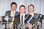 Dr Crokes and  Kerry players Eoin Brosnan, Kieran O'Leary and Colm Cooper show off the silverware at the club's social in the INEC on Sunday night