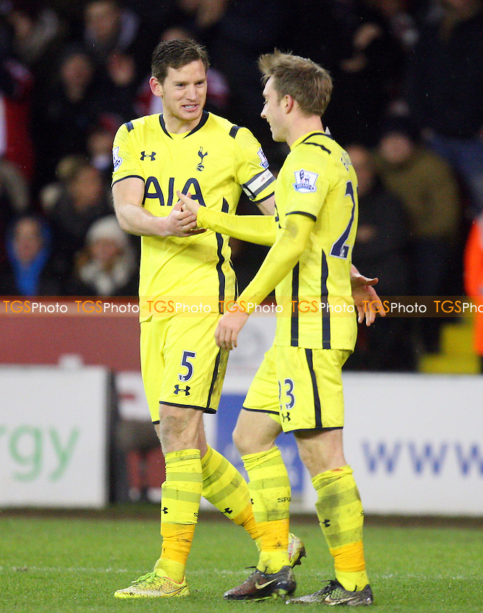 Christian Eriksen of Tottenham Hotspur is congratulated after scoring the second goal - Sheffield United vs Tottenham Hotspur - Capital One Cup Semi Final action at the Brammell Lane Stadium on 28/01/2015 - MANDATORY CREDIT: Dave Simpson/TGSPHOTO - Self billing applies where appropriate - 0845 094 6026 - contact@tgsphoto.co.uk - NO UNPAID USE