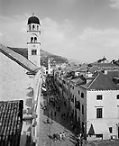 CROATIA, Dubrovnik, Dalmatian Coast, elevated view of Dubrovnik city B&W