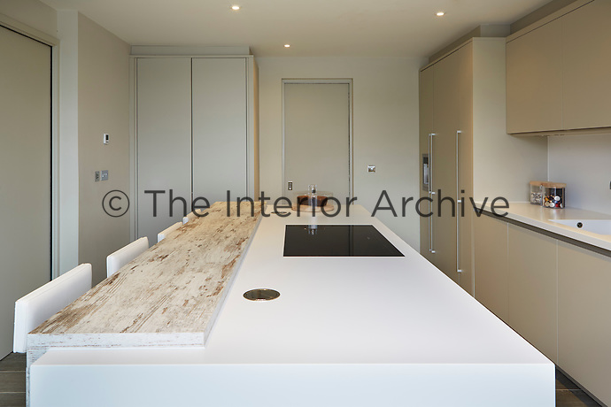 The stylish kitchen in neutral tones is a minimal, uncluttered space.