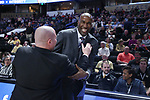 WINSTON-SALEM, NC - FEBRUARY 24: Notre Dame assistant coach Ryan Humphrey (right) and Wake Forest assistant Justin Bauman (left). The Wake Forest University Demon Deacons hosted the University of Notre Dame Fighting Irish on February 24, 2018 at Lawrence Joel Veterans Memorial Coliseum in Winston-Salem, NC in a Division I men's college basketball game. Notre Dame won the game 76-71.