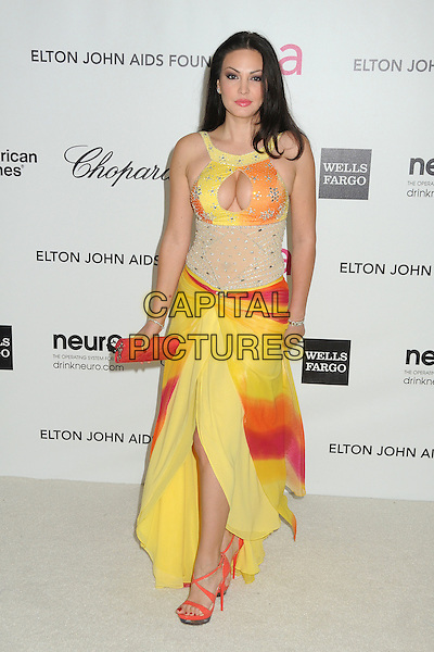 Bleona Qereti.20th Annual Elton John Academy Awards Viewing Party held at West Hollywood Park, West Hollywood, California, USA..February 26th, 2012.full length red yellow orange cut out sleeveless cleavage clutch bag dress .CAP/ADM/BP.©Byron Purvis/AdMedia/Capital Pictures.