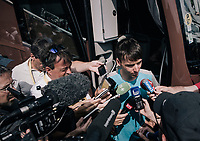 Romain Bardet (FRA/AG2R-La Mondiale) swamped by (mainly french) press at the stage start<br /> <br /> 104th Tour de France 2017<br /> Stage 7 - Troyes &rsaquo; Nuits-Saint-Georges (214km)