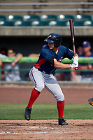 Potomac Nationals left fielder Jack Sundberg (14) at bat during the first game of a doubleheader against the Lynchburg Hillcats on June 9, 2018 at Calvin Falwell Field in Lynchburg, Virginia.  Lynchburg defeated Potomac 5-3.  (Mike Janes/Four Seam Images)