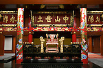 Photo shows  the King's throne in the Usasuka room inside the main Seiden hall of Shuri-jo Castle in Naha, Okinawa Prefecture, Japan, on June 24, 2012. Seiden functioned as the central structure of the Ryukyu kingdom for over 500 years and was restored in 1992. Photographer: Robert Gilhooly
