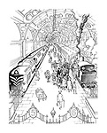 (a cartoon showing a railway station where a crowd of people gather around an old steam train ignoring the modern train)