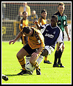 24/8/02         Copyright Pic : James Stewart                     .File Name : stewart-alloa v falkirk 14.FALKIRK'S COLLIN SAMUEL TACKLES DEREK FERGUSON.James Stewart Photo Agency, 19 Carronlea Drive, Falkirk. FK2 8DN      Vat Reg No. 607 6932 25.Office : +44 (0)1324 570906     .Mobile : + 44 (0)7721 416997.Fax     :  +44 (0)1324 570906.E-mail : jim@jspa.co.uk.If you require further information then contact Jim Stewart on any of the numbers above.........