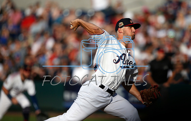 Reno Aces' Riley Smith pitches against the Sacramento River Cats, in Reno, Nev., on Thursday, July 4, 2019.<br /> Photo by Cathleen Allison/Nevada Momentum