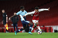 Dominic Thompson of Arsenal eludes a challenge from Blackpool's Nana Avarkwa during Arsenal Youth vs Blackpool Youth, FA Youth Cup Football at the Emirates Stadium on 16th April 2018