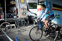 warming down for Julie de Wilde (BEL)<br /> post-race moments at the Women Junior Individual Time Trial<br /> <br /> 2019 Road World Championships Yorkshire (GBR)<br /> <br /> ©kramon