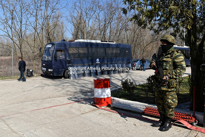 Pictured: Greek riot police by the border. Sunday 01 March 2020<br /> Re: Clashes between migrants and riot police at the Greek-Turkish border of Kastanies near Evros, Greece