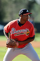 Pitcher Mauricio Cabrera (65) of the Atlanta Braves farm system in a Minor League Spring Training workout on Tuesday, March 17, 2015, at the ESPN Wide World of Sports Complex in Lake Buena Vista, Florida. (Tom Priddy/Four Seam Images)