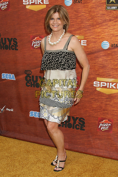"MARKIE POST .2008 Spike TV's ""Guys Choice"" Awards held at Sony Studios, Los Angeles, California, USA..May 30th, 2008.full length dress black beige yellow gold layers layered dress pattern .CAP/ADM/MJ.©Michael Jade/AdMedia/Capital Pictures."