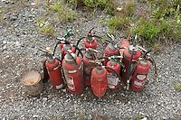Landscape view of used fire extinguishers at Ofunato port following the 311 Tohoku Tsunami in Ofunato, Japan  © LAN