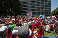 Los Angeles, CA -  Sunday, June 22, 2014: Thousands of Koreans watched the South Korea vs. Algeria first round match on the  front lawn of Wilshire Park Place.
