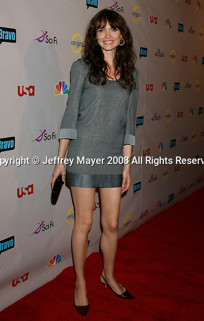 Actress Saffron Burrows arrives at the NBC Universal 2008 Press Tour All-Star Party at The Beverly Hilton Hotel on July 20, 2008 in Beverly Hills, California.
