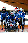 20 November 2005: Juergen Loacker leads the Austria 2 sled pushoff in the first run of the 2005 FIBT AIT World Cup Men's 4-Man Bobsleigh Tour, piloting the team to a 21st place finish at the Verizon Sports Complex, in Lake Placid, NY. Mandatory Photo Credit: Ed Wolfstein.