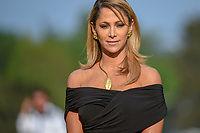Television personality Ines Sainz prepares to emcee the trophy presentation following the World Golf Championships, Mexico, Club De Golf Chapultepec, Mexico City, Mexico. 2/24/2019.<br /> Picture: Golffile | Ken Murray<br /> <br /> <br /> All photo usage must carry mandatory copyright credit (© Golffile | Ken Murray)