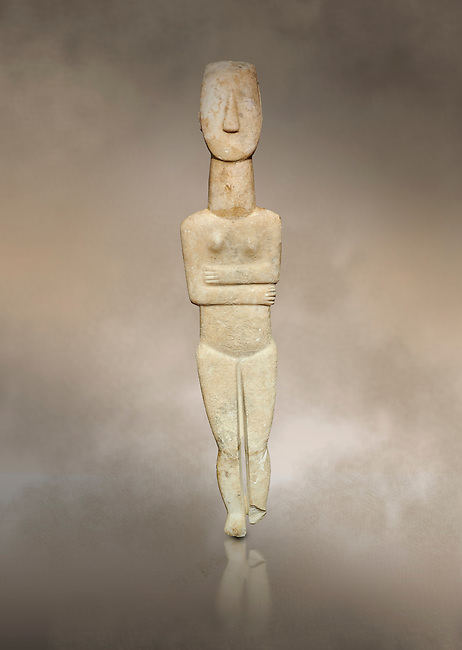 Marble female Cycladic statue figurine with folded arms of the Spedos type. Early Cycladic Period II (2800-3200) from Naxos, Cat No 20934. National Archaeological Museum, Athens. <br /> <br /> One of the largest known Cycladic statues at 89CM tall this figurine still has traces of a colour on the hair and eyes.