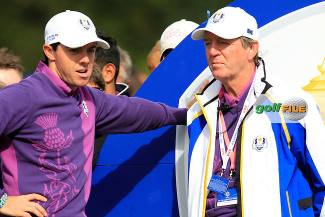 Vice Captain Des Smyth  and Rory McIlroy (EUR)  during Practice on Wednesday at the 40th Ryder Cup, The Gleneagles Hotel, Perthshire from 26th to 28th September 2014<br /> Picture Eoin Clarke, www.golffile.ie