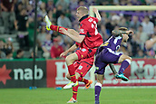 November 4th 2017, nib Stadium, Perth, Australia; A-League football, Perth Glory versus Adelaide United; Jordan Elsey from Adelaide United jumps into Adam Taggart of the Perth Glory during the second half