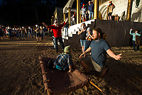 Jesus (J.P. Dean) raises a boy (Caiden Phelps, 6) from the dead Tuesday, May 19, 2020, during a rehearsal for the 2020 season at The Great Passion Play in Eureka Springs. The play will open their season Friday with adjustments for cast and audience members to stay within Arkansas Department of Health social distancing guidelines. Go to nwaonline.com/photos to see more photos.<br /> (NWA Democrat-Gazette/Ben Goff)