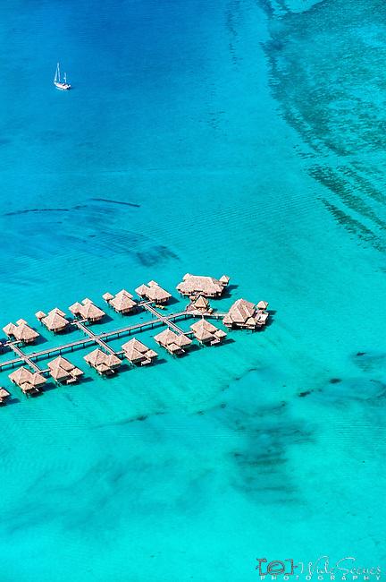 Aerial over Bora Bora lagoon, French Polynesia