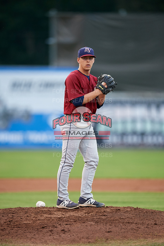 Mahoning Valley Scrappers starting pitcher Kirk McCarty (38) gets ready to deliver a pitch during a game against the Batavia Muckdogs on August 29, 2017 at Dwyer Stadium in Batavia, New York.  Batavia defeated Mahoning Valley 2-0.  (Mike Janes/Four Seam Images)
