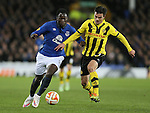 Romelu Lukaku of Everton tussles with Scott Sutter of BSC Young Boys - UEFA Europa League Round of 32 Second Leg - Everton vs Young Boys - Goodison Park Stadium - Liverpool - England - 26th February 2015 - Picture Simon Bellis/Sportimage