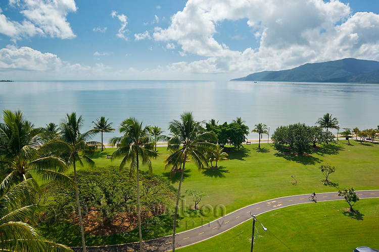View across Esplanade to Trinity Bay.  Cairns, Queensland, Australia