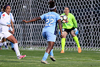 Piscataway, NJ - Sunday April 30, 2017: Sydney Leroux, Mandy Freeman and Nicole Barnhart during a regular season National Women's Soccer League (NWSL) match between Sky Blue FC and FC Kansas City at Yurcak Field.