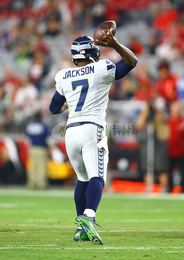 Jan 3, 2016; Glendale, AZ, USA; Seattle Seahawks quarterback Tarvaris Jackson (7) against the Arizona Cardinals at University of Phoenix Stadium. Mandatory Credit: Mark J. Rebilas-USA TODAY Sports