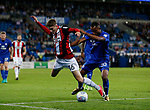 David Brooks of Sheffield Utd brought down by Loic Damour of Cardiff City during the Championship match at the Cardiff City Stadium, Cardiff. Picture date: August 15th 2017. Picture credit should read: Simon Bellis/Sportimage