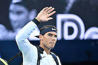 January 27, 2017: Rafael Nadal of Spain arrives for a semifinals match against Grigor Dimitrov of Bulgaria on day 12 of the 2017 Australian Open Grand Slam tennis tournament in Melbourne, Australia. Photo Sydney Low