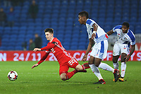 Ben Woodburn of Wales is challenged by Armando Cooper of Panama during the International Friendly match between Wales and Panama at The Cardiff City Stadium, Wales, UK. Tuesday 14 November 2017