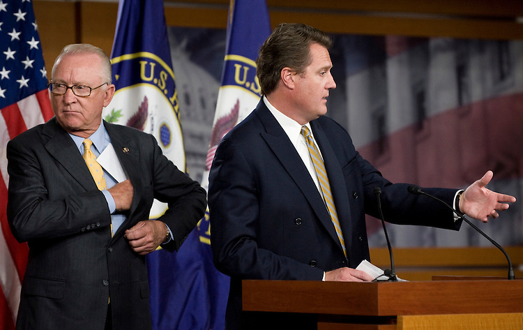 Rep. Howard McKeon, R-Calif., left and Rep. Michael Turner, R-Ohio, participate in their news conference on missile defense on Thursday, Sept. 17, 2009.