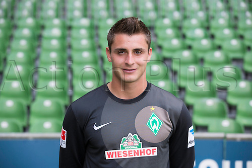 29.07.2013. Bremen, Germany.  The picture shows German Soccer Bundesliga club SV Werder Bremen's goalkeeper Sebastian Mielitz during the official photocall for the season 2013-14 in Bremen.