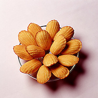 Bowl of Madeleine cookies photographed from above