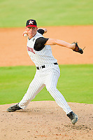 Relief pitcher Chris Bassitt #31 of the Kannapolis Intimidators in action against the Delmarva Shorebirds at Fieldcrest Cannon Stadium on August 7, 2011 in Kannapolis, North Carolina.  The Intimidators defeated the Shorebirds 8-3.   (Brian Westerholt / Four Seam Images)