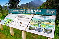 Hanalei National Wildlife Refuge sign, Kauai, Hawaii, Pacific Ocean