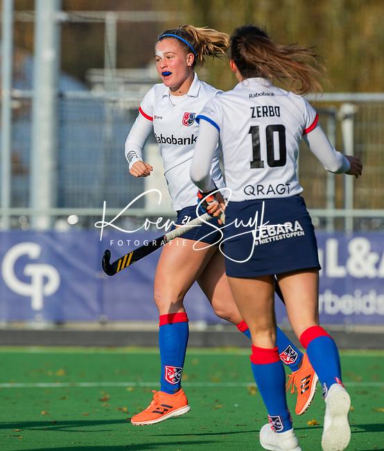AMSTELVEEN - Pien Dicke (SCHC) heeft gescoord tijdens de competitie hoofdklasse hockeywedstrijd dames, Pinoke-SCHC (1-8) . COPYRIGHT KOEN SUYK