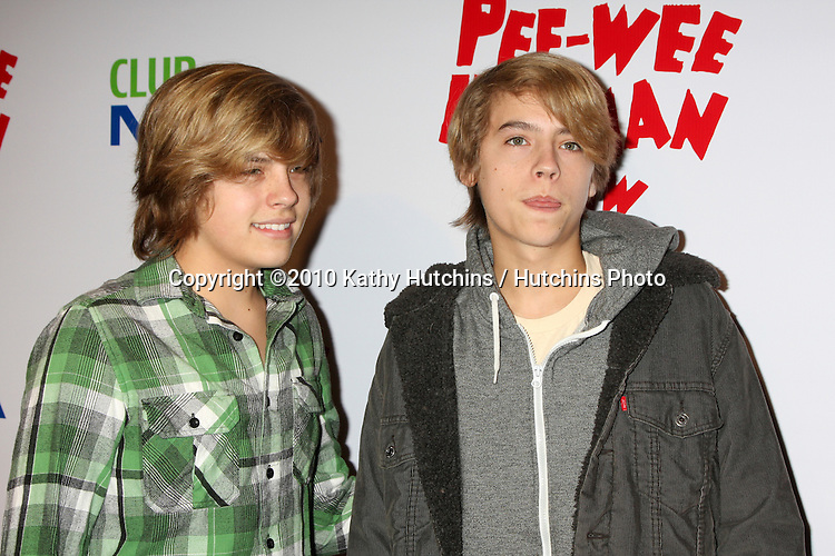 """Dylan & Cole Sprouse.arriving at the """"The Pee Wee Herman Show"""" Opening Night..Club Nokia.Los Angeles, CA.January 20, 2010.©2010 Kathy Hutchins / Hutchins Photo...."""