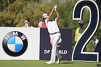 Ian Poulter (ENG) on the 2nd tee during the preview for the DP World Tour Championship at the Earth course,  Jumeirah Golf Estates in Dubai, UAE,  18/11/2015.<br /> Picture: Golffile | Thos Caffrey<br /> <br /> All photo usage must carry mandatory copyright credit (© Golffile | Thos Caffrey)