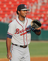 Third baseman/infielder Edward Salcedo (1) of the Rome Braves, Class A affiliate of the Atlanta Braves, before a game against the Greenville Drive on August 16, 2011, at Fluor Field at the West End in Greenville, South Carolina. (Tom Priddy/Four Seam Images)