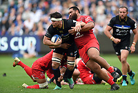 Francois Louw of Bath Rugby is tackled by Charlie Faumuina of Toulouse. Heineken Champions Cup match, between Bath Rugby and Stade Toulousain on October 13, 2018 at the Recreation Ground in Bath, England. Photo by: Patrick Khachfe / Onside Images