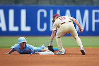 Brian Miller (5) of the North Carolina Tar Heels holds on to second base as Taylor Walls (10) of the Florida State Seminoles applies a tag during the 2017 ACC Baseball Championship Game at Louisville Slugger Field on May 28, 2017 in Louisville, Kentucky. The Seminoles defeated the Tar Heels 7-3. (Brian Westerholt/Four Seam Images)