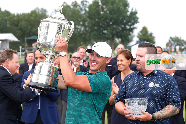 Brooks Koepka (USA) holds the trophy after winning the 100th PGA Championship at Bellerive Country Club, St. Louis, Missouri, USA. 8/12/2018.<br /> Picture: Golffile.ie | Brian Spurlock<br /> <br /> All photo usage must carry mandatory copyright credit (© Golffile | Brian Spurlock)