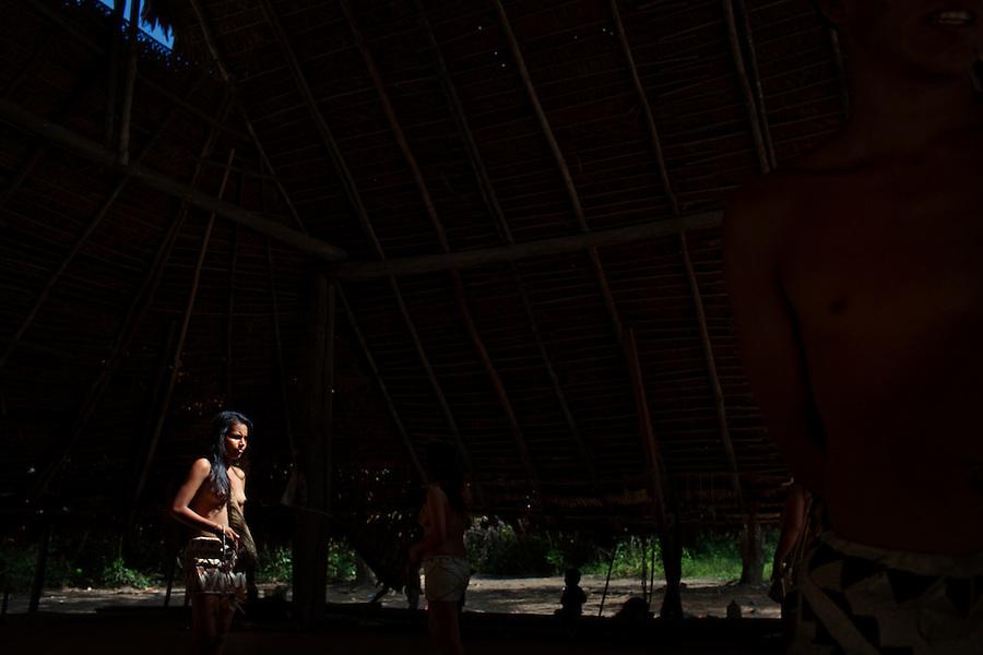 Near Iquitos, Peru, September 14, 2013 - A Bora native.